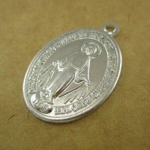 Image 1 - 100pcs of Aluminum Religious Miraculous Medal Pendant