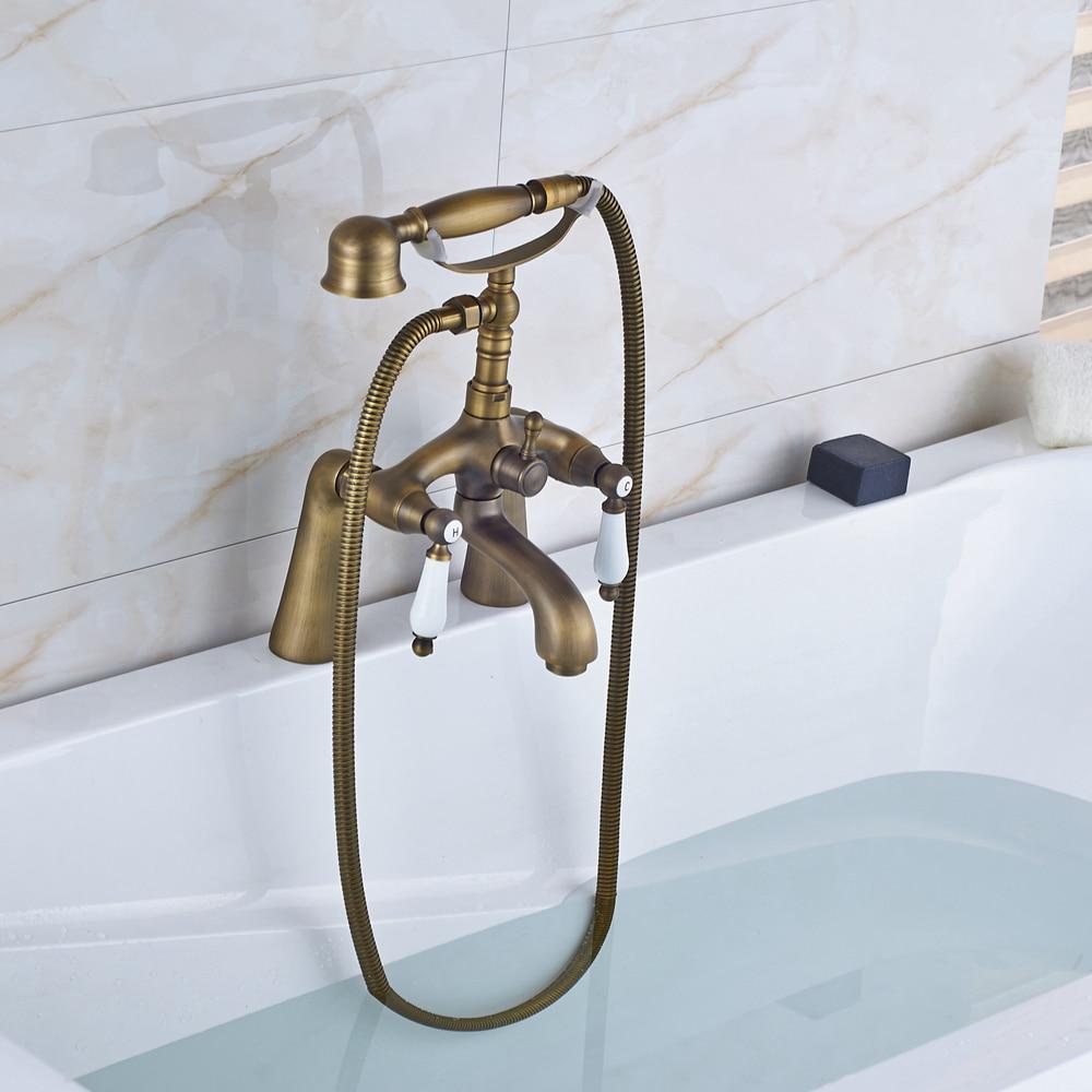 Solid Brass Antique Brass Shower Faucet Tub Mixer Tap W/ TELE Hand Shower Faucet rivoli satiro wave w c 2xe14 40w antique brass 10