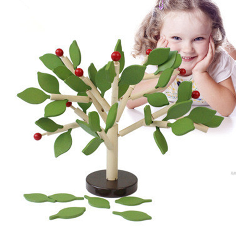 Assembled Tree Wood Green Leaves Building Montessori Materials Wooden Toy Early Educational Learning Toys For Children Kids Gift