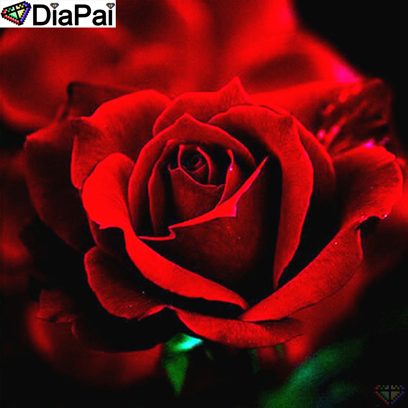 DiaPai Diamond Painting 5D DIY 100 Full Square Round Drill quot Rose flower scenery quot Diamond Embroidery Cross Stitch 3D Decor A23700 in Diamond Painting Cross Stitch from Home amp Garden