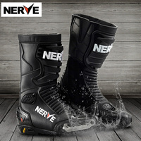 Brand NERVE Motorcycle Riding Mid-Calf Waterproof Boots Protection Leather Men Motociclista Bota Moto/Motocross Racing Shoes