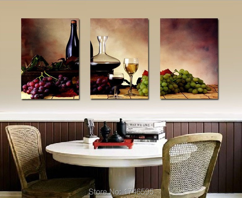 Big Size Modern Dining Room Wall Decor Wine Fruit Kitchen Wall Art Picture Printed Canvas Painting