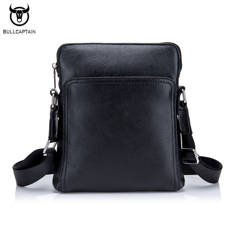 BULLCAPTAIN Fashion Genuine leather Men Bag Cowhide Casual Business Men Messenger Shoulder Bags Man Travel Small Briefcase Black premium top layer cowhide genuine leather men messenger bag unicalling brand fashion style leather men bags business casual bag