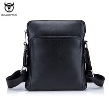 BULLCAPTAIN Fashion Genuine leather Men Bag Cowhide Casual Business Men Messenger Shoulder Bags Man Travel Small Briefcase Black цена