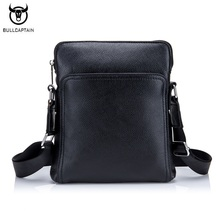 BULLCAPTAIN Fashion Genuine leather Men Bag Cowhide Casual Business Men Messenger Shoulder Bags Man Travel Small Briefcase Black