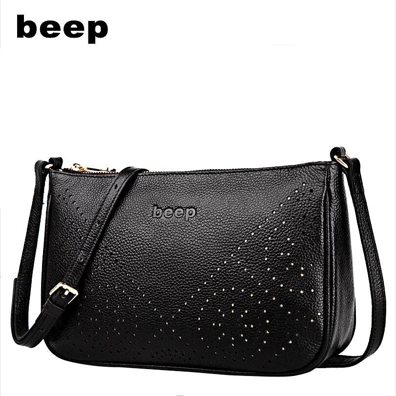 Beep 2018 spring and summer new hollow leather handbags dumplings package Fashion trend ladies shoulder bag small bag