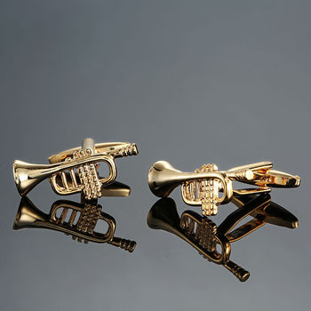 DY new high quality brass musical instruments Sax trumpet drum piano violin music symbol French shirt Cufflinks 3