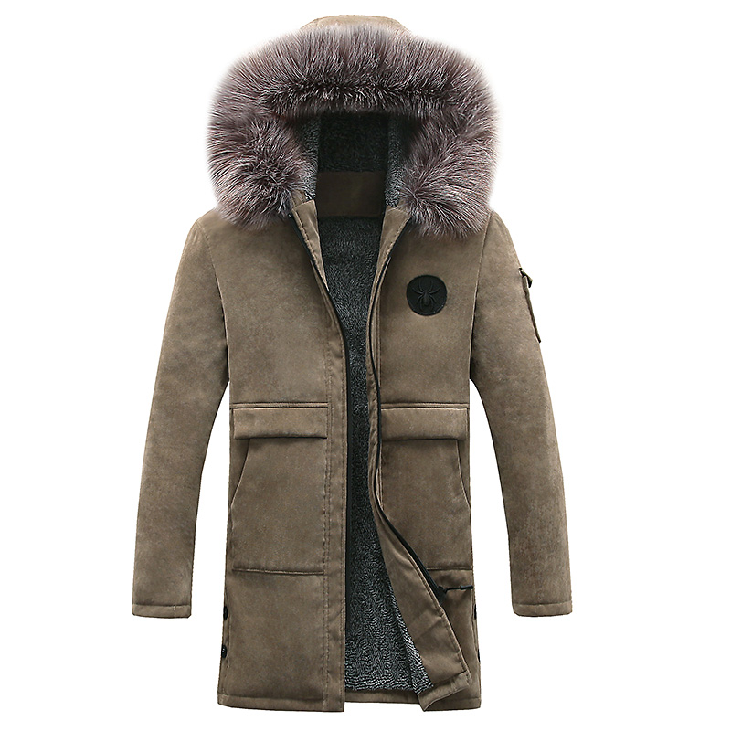 new winter jacket Men thjck warm coat casual Add wool hooded parkas coat Fashion pure color long style hooded big size 3XL autumn and winter new men s fashion thicker warm wool cap hooded knit cap