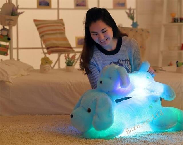 Творческие игрушки Симпатичные Индуктивный собака ночник плюшевые игрушки LED glow подушка кукла 50 см