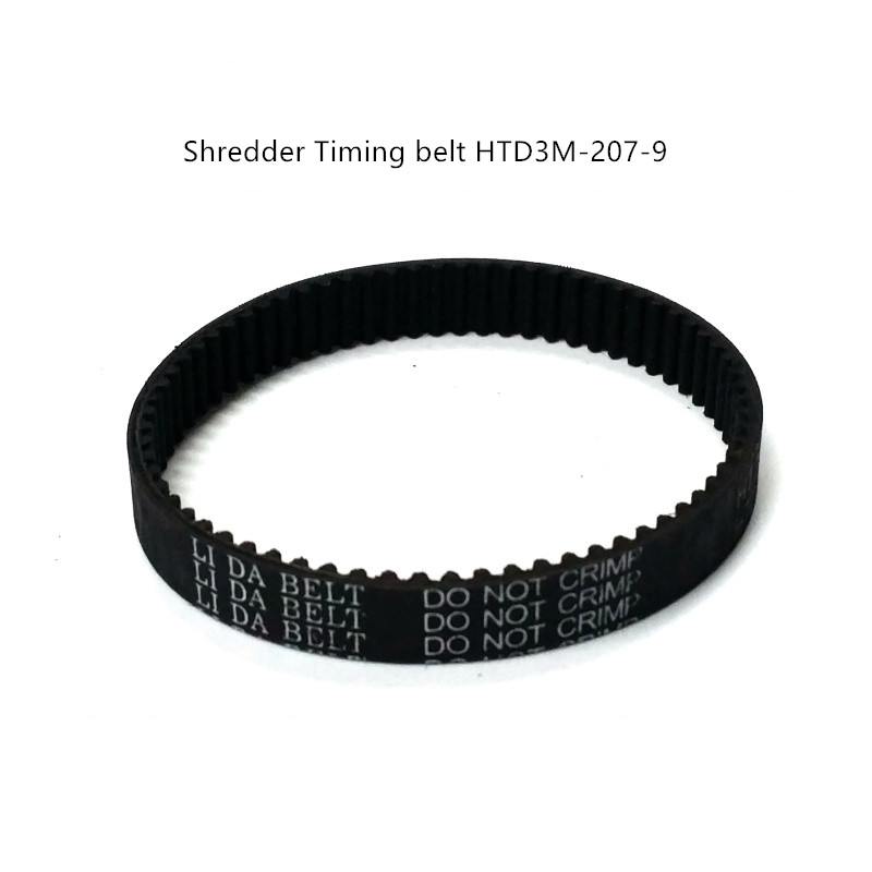 Free shipping Shredders belt rubber timing belts HTD3M-207-9 / 69 tooth / width 9 mm