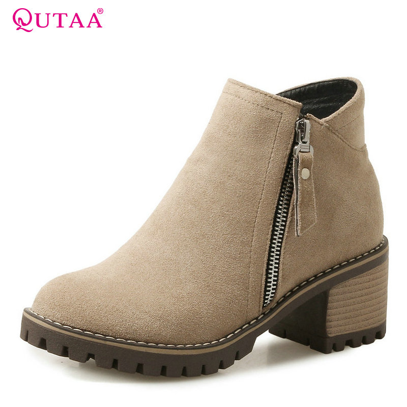 QUTAA 2018 New Westrn Style Women Ankle Boots Sqaure High Heel Round Toe Zipper Design All Match Women Fashion Boots Size 34-43