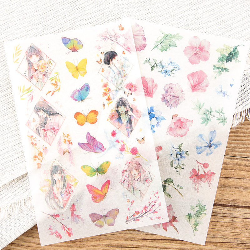 6 Sheets/lot Decoration Korean Japanese Kawaii Diary Cute Stickers Flakes Scrapbooking School Supplies Stationery 6 sheets pack kawaii cute drawing market planner paper diary deco stickers pvc transparent scrapbooking school kids stationery