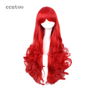 Ccutoo 80cm 32inch Red Black Golden Wavy Long Synthetic Hair Wigs High Temperature Fiber Cosplay Wigs