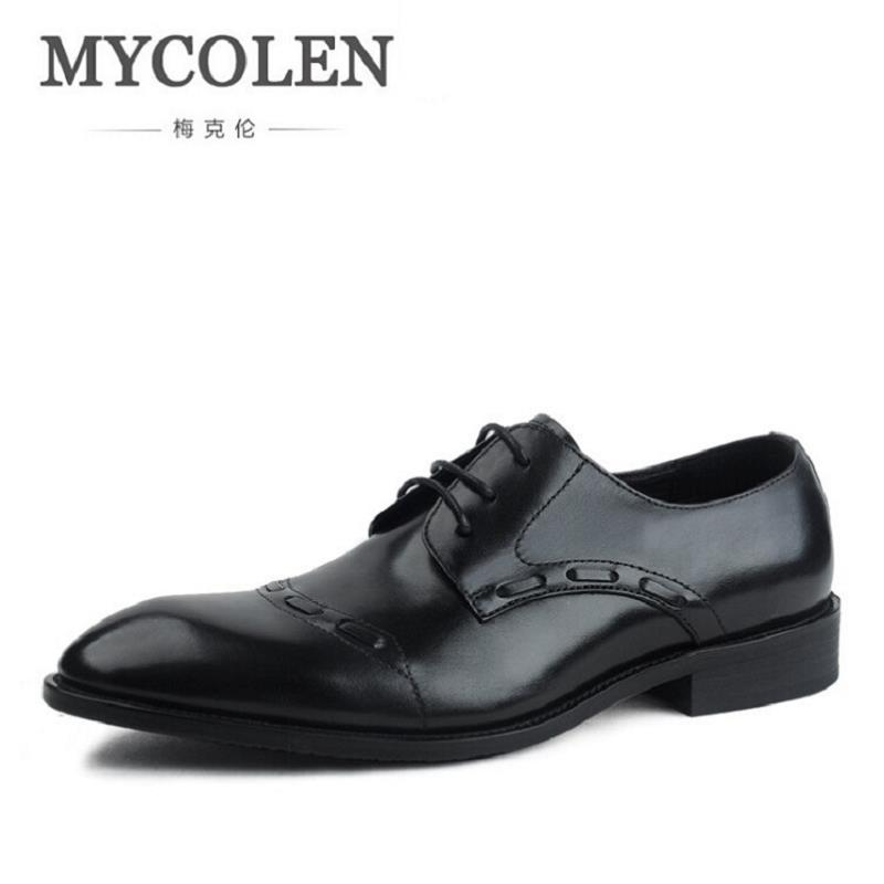 MYCOLEN Luxury Brands Classic Men Dress Shoes Man Genuine Leather Carved Italian Formal Oxford Winter Tenis Masculino Adulto hot sale mens italian style flat shoes genuine leather handmade men casual flats top quality oxford shoes men leather shoes