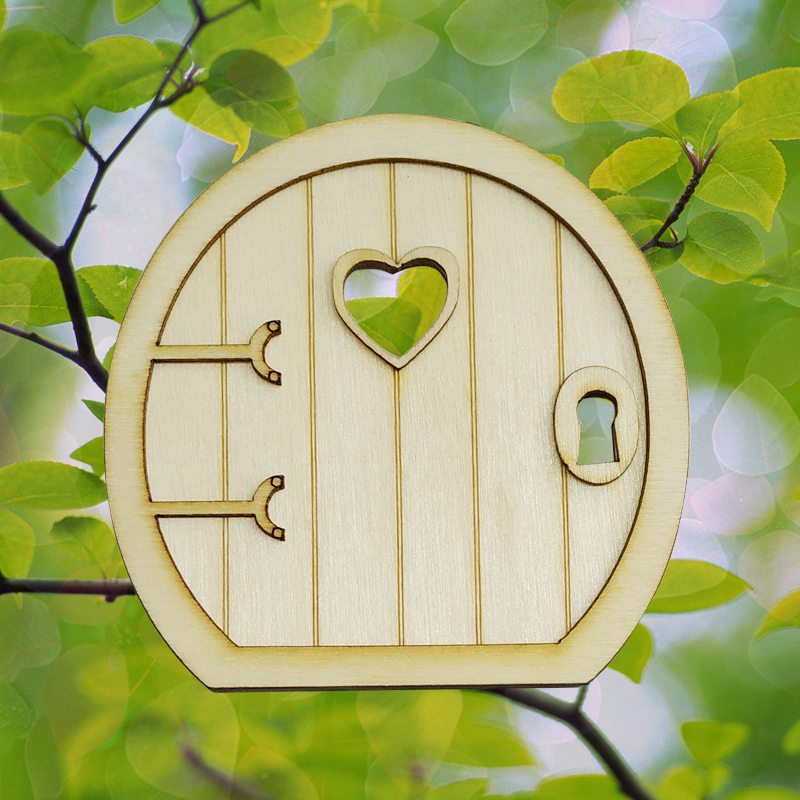 6 Sets Funny Wooden 3D Round Fairy Door DIY Craft Embellishments Fairy Accessories