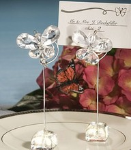 100pcs/lot clear crystal Butterfly design wedding faovr party gift place card holder  wz006