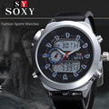 New watch men luxury LED digital and quartz double movement leather strap fashion watch round dial Relojes Masculio.hot !!!