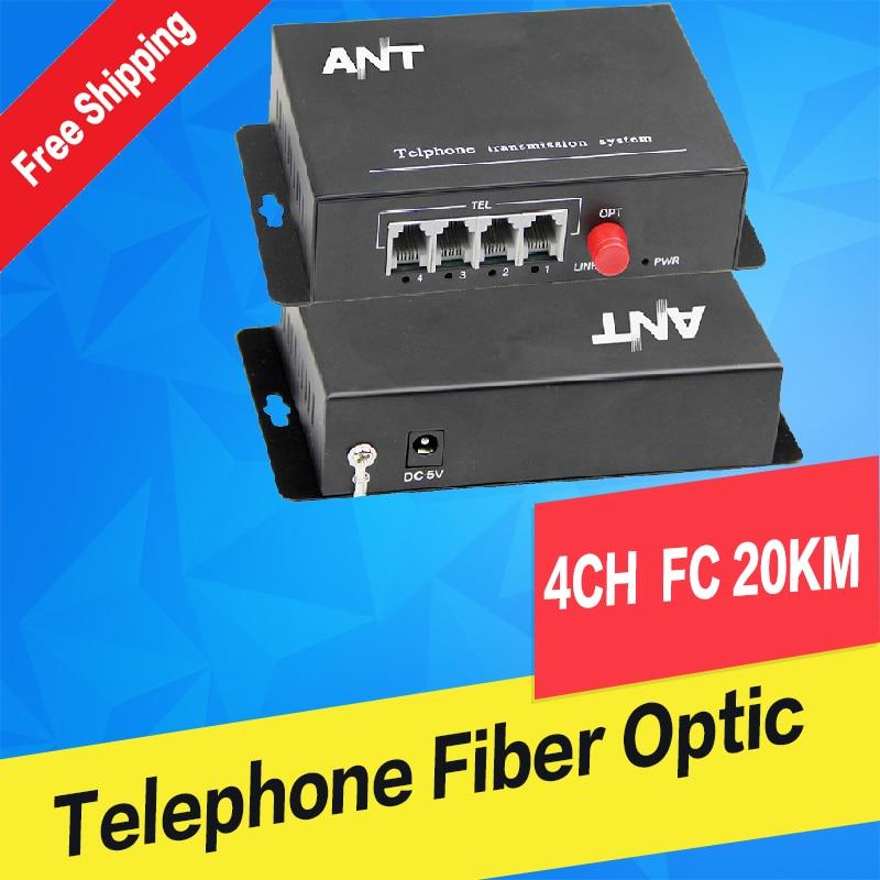 4 channel telephone Fiber Optic Converter/Transceivers , FC fiber optic port, single mode