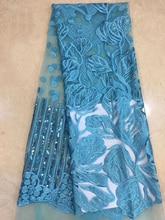 (5 Thước/Pc) đẹp Màu Xanh Ngọc Châu Phi Lưới Vải Ren Mềm Mại Frech Quần Chíp Ren Viền Thêu Và Kim Sa Lấp Lánh Cho Đầm FZZ206