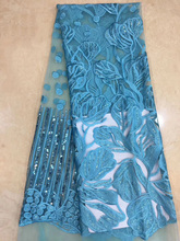(5 jardas/pc) belo azul turquesa africano tecido de renda líquida macio tecido de renda frech com bordado e lantejoulas para o vestido fzz206
