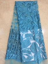 (5 야드/pc) 아름 다운 청록색 블루 아프리카 그물 레이스 패브릭 소프트 Frech 레이스 원단 자 수와 장식 조각 FZZ206