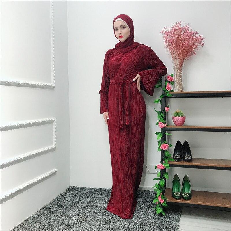 Robes en mousseline de soie plissée Abaya arabe islamique musulman Maxi Robe Caftan Marocain Ramadan Hijab Robe Tesettur Elbise Caftan Robe
