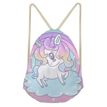 Thikin Unicorn Casual Sack Drawstring Bag for Girls Travel Backpack Toddler Softback Lady Beach Mochila DrawString