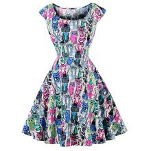 Summer Women Dress A-Line Dress Chic Retro Hepburn Style Slim Waist Flare Dress With Whole-body Colorful Owl Print Size S-4XL