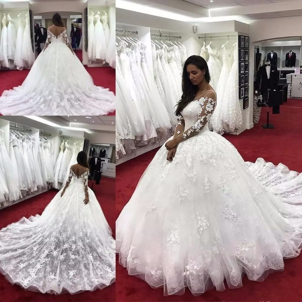 2019 Ball Gown Wedding Dresses: 2019 Modern Ball Gown Wedding Dresses Illusion Neck Long