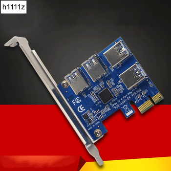 6PCS PCI-E 1X to External 4 PCI-e Slot Riser Card PCIe 1 to 4 PCI Express 16X Adapter USB3.0 Port Riser for Bitcoin Miner Mining 1