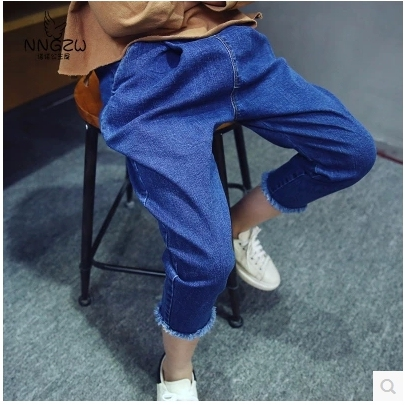 Детей весна лето одежда девушка свободного покроя джинсовые брюки гарем джинсы