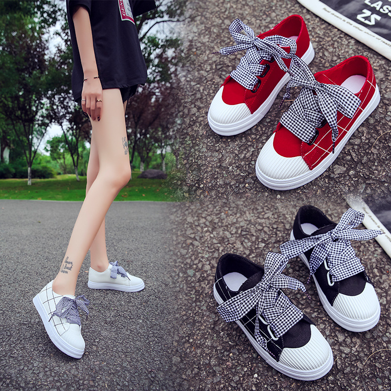 Casual shoes Women Canvas Plaid casual bow tie women's shoes Ladies sneakers Woman's loafers non Slip Flats tenis feminino shoe for apple watch series 4 wrist bracelet luxury metal mechanical chain watch band strap for apple watch series 1 2 3 38mm 42mm