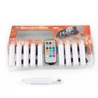 10pcs Tree Decor Wireless Remote Control 12 Colors LED Candles Battery Operated Light For Hallowmas Christmas