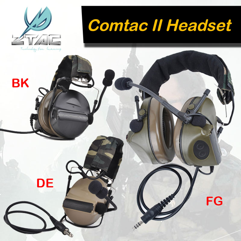 Z-TAC Z Tactical Comtac II Headset Softair Arsoft Earphone For Shooting Ipsc Z Tactical Air Gun Tatical Military headphones z tactical military headset headphone airsoft radio comtac ipsc od for ptt military radio z 111