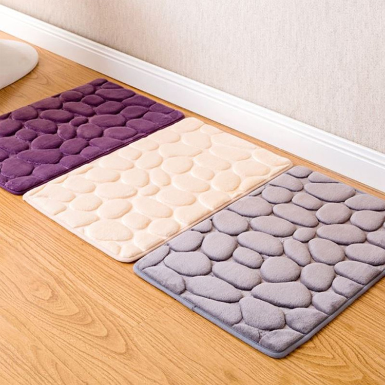 New Concise Flannel Kitchenroom Bathroom Decoration Floor Mat Cobblestones Flower Embossed Anti Slip Rug Small Carpet ,40x60cm