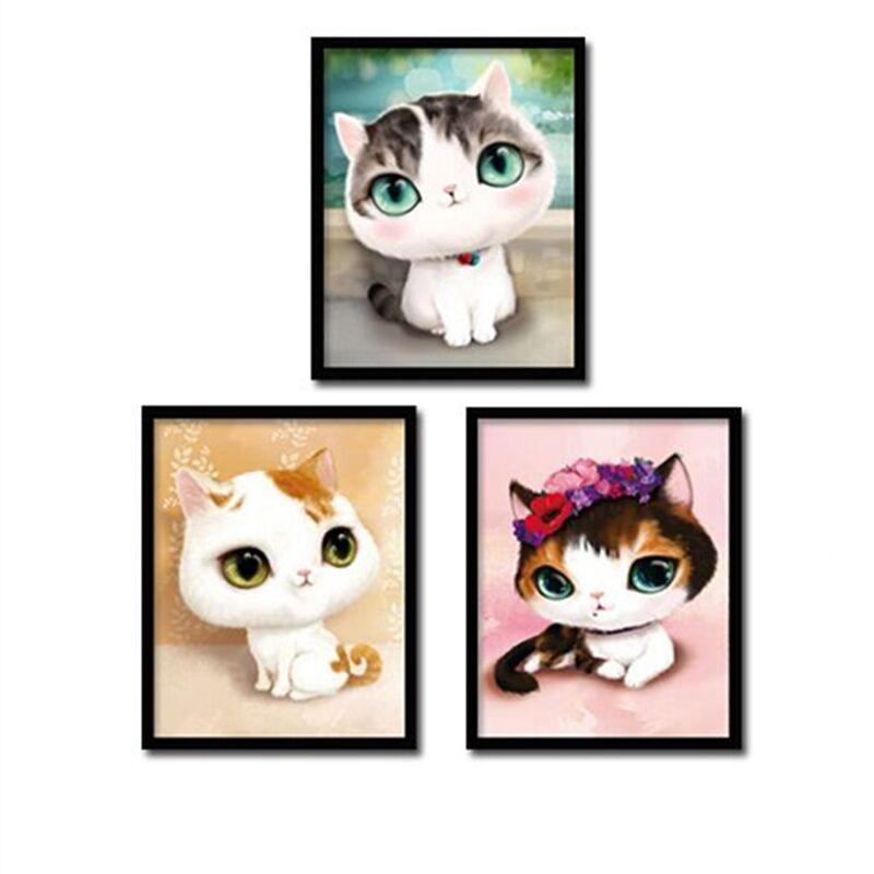 DIY 5D Diamond Mosaic Cartoon Cats Handmade Diamond Painting Cross Stitch Kits Diamond Embroidery Patterns Rhinestones Arts H6
