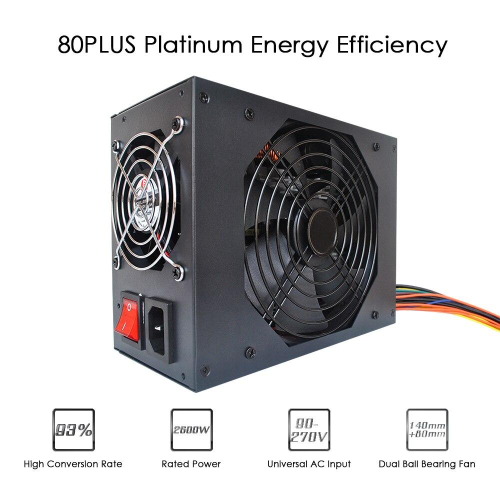 2600 Вт 90 270 В коммутации Питание горные машины Источники питания сервер для Эфириума S9 S7 L3 Rig добыча Bitcoin