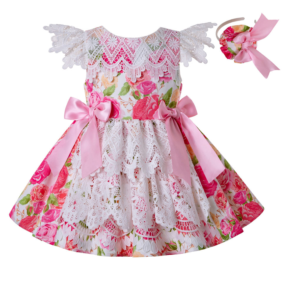 Pettigirl Summer Dress Girl Princess Flower Printed Girls Dress 8 Years Wholesale Kids Clothes Headband G