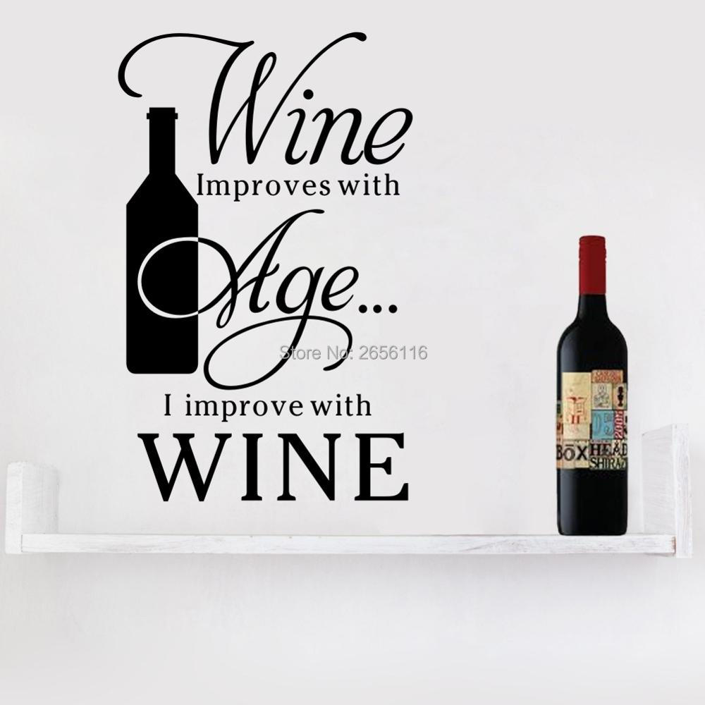 ︻english quotes wine improve with age wall stickers bar