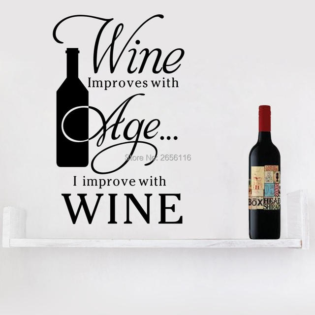 English Quotes Wine Improve With Age Wall Stickers Bar Restaurant Decals Gl Decoration Art Carved