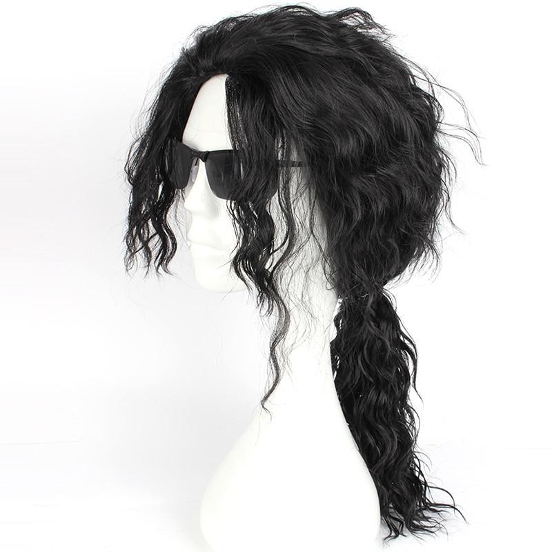 Mcoser Michael Jackson Coplay Wig Black Färg wig gratis - Syntetiskt hår