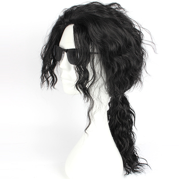 цена на Mcoser 55 CM Cosplay Wavy Synthetic Black Color Wig  free Shipping 100% High Temperature Fiber Hair WIG-647A