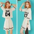 2016 NOVA kpop GOT7 verão As Mulheres se vestem Roupas k-pop GOT7 meninas de manga Curta Vento Faculdade Lazer terno Vestidos tops vestido saia