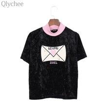 Qlychee Harajuku панк Для женщин футболка сердце письмо embroidey водолазка футболка короткий рукав Свободные Леди Футболка