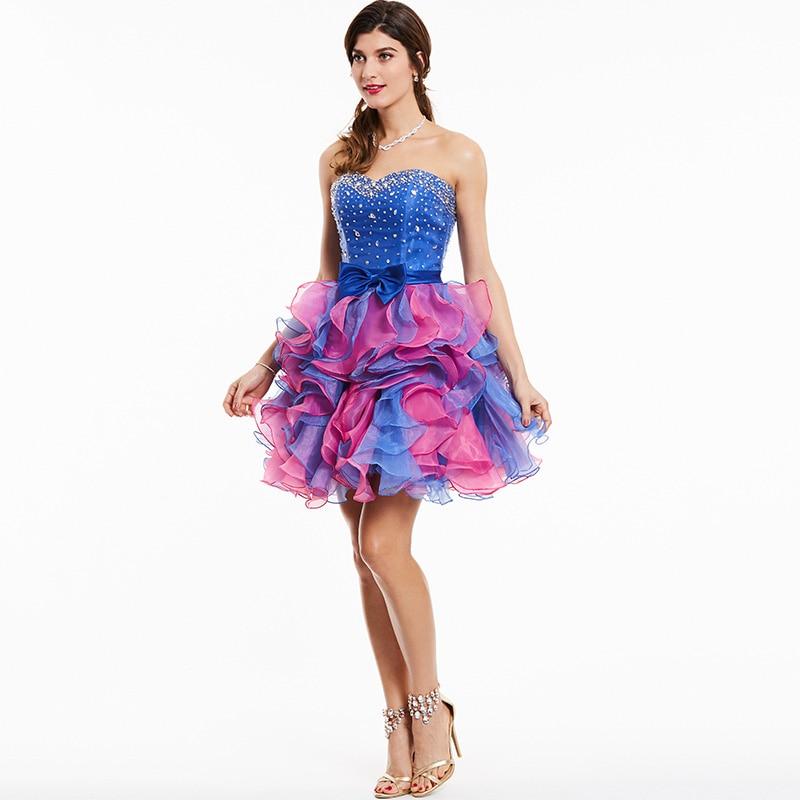 Tanpell straplez kokteyl elbise kraliyet mavi kolsuz boncuklu ilmek - Özel Günler Için Elbise - Fotoğraf 2