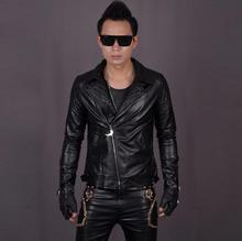 Street 1 show black suit collar diamond lattice punk mens leather jackets and coats slim fit men leather motorcycle clothing