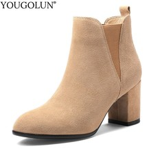 Cow Suede Ankle Boots Women Autumn Winter Ladies High Heels A276 Fashion Shoes Woman Champagne Black Round Toe Short Boots
