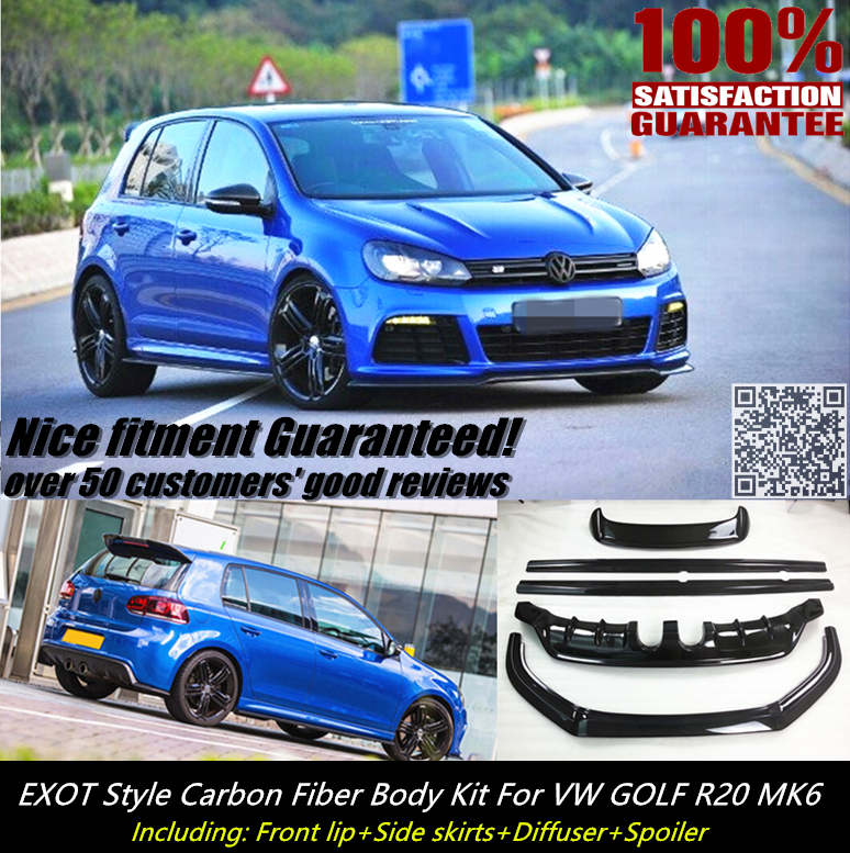 VW GOLF R20 CARBON FIBER BODY KITS INCLUDING FRONT SPOILER SIDE SKIRTS DIFFUSER ROOF SPOILER  NICE FITMENT&QUALITY! Mitsubishi Pajero