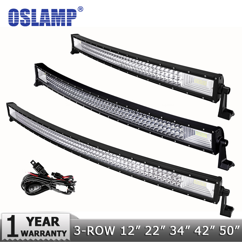 Oslamp 3 Row 12 20 22 34 42 50 Straight Curved LED Light Bar 4x4 Offroad