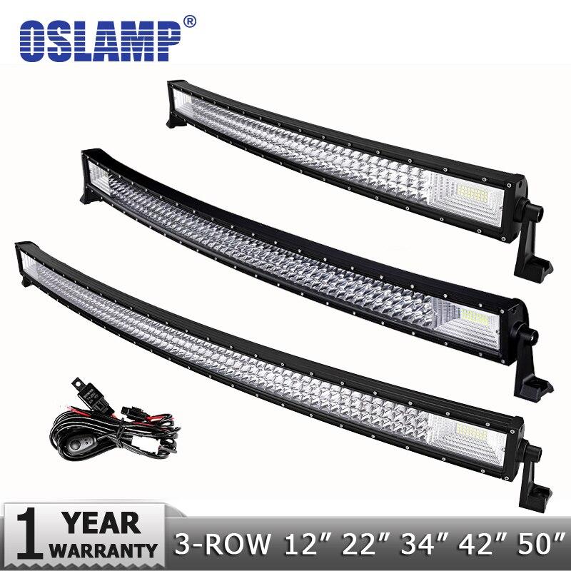 Oslamp 3-Row 12 20 22 34 42 50 прямой/светодио дный изогнутый светодиодный свет бар 4 светодио дный x 4 Offroad светодиодный рабочий светильник 6000 К Spot + На...